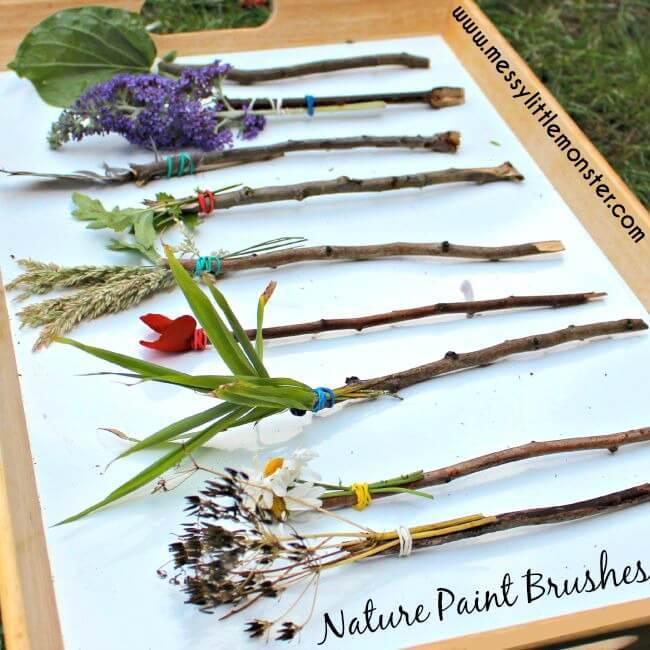 nature stick paint brushes art